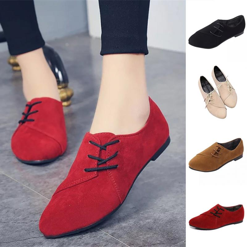 Autumn Suede Flat Shoes Women Lace Up Pointed Toe Daily Casual Shoes Chaussures Femme Ladies Flats Black Red Plus Size 35-40(China)