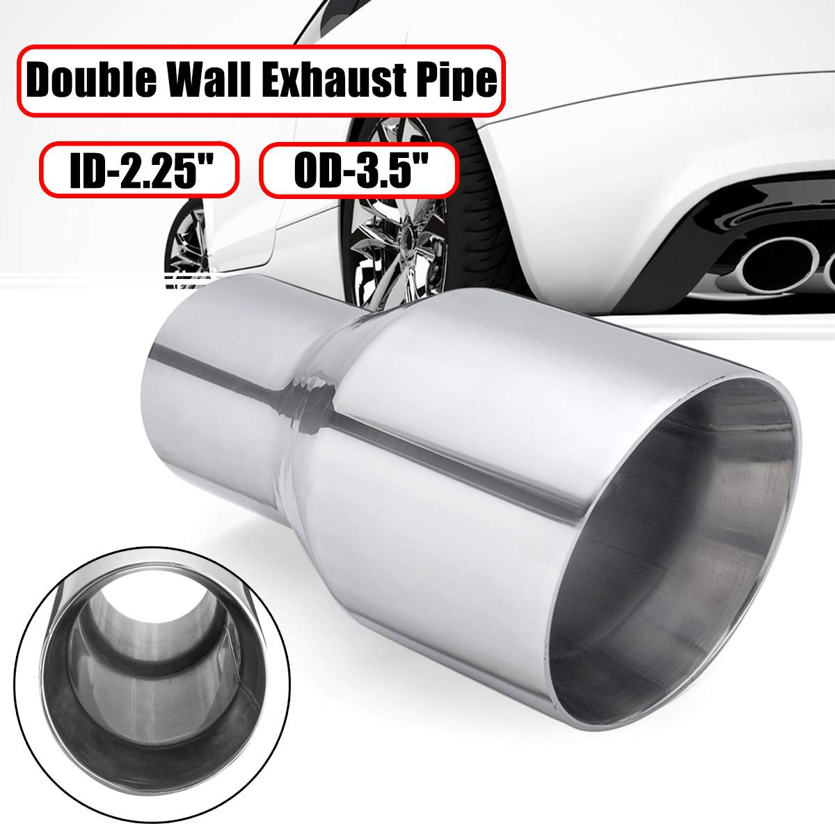 """Two Universal angle cut stainless steel exhaust tips 2.5/"""" 17/"""" 4/"""" outlet"""