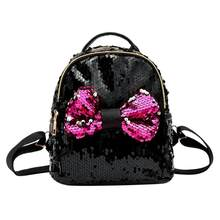 Bowknot mujeres mochilas Mini brillante lentejuelas mochila lindo fiesta  diseño adolescente niñas pequeñas de hombro bolsas 4c18f7ca99