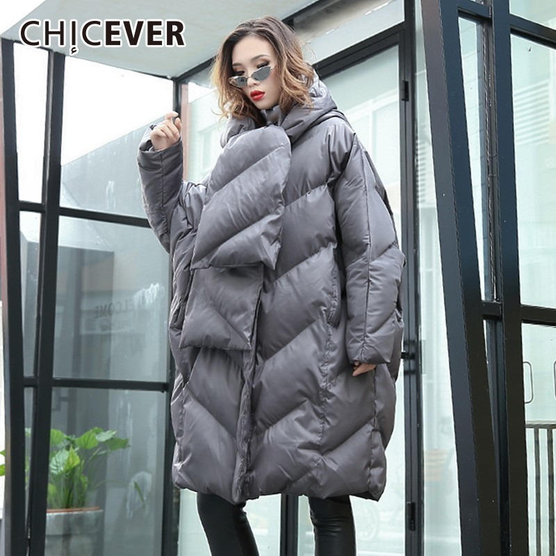 CHICEVER 2018 Winter Women's Park Hooded Batwing Sleeve Zipper Loose Oversize Thick Coat Female Fashion Streetwear Tide