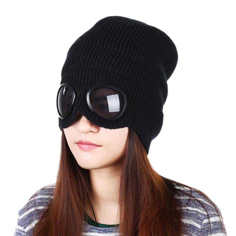 Gorro de punto de invierno nuevo Popular de moda caliente de esquí gafas  extraíbles para hombres a4c0fb1bd4eb