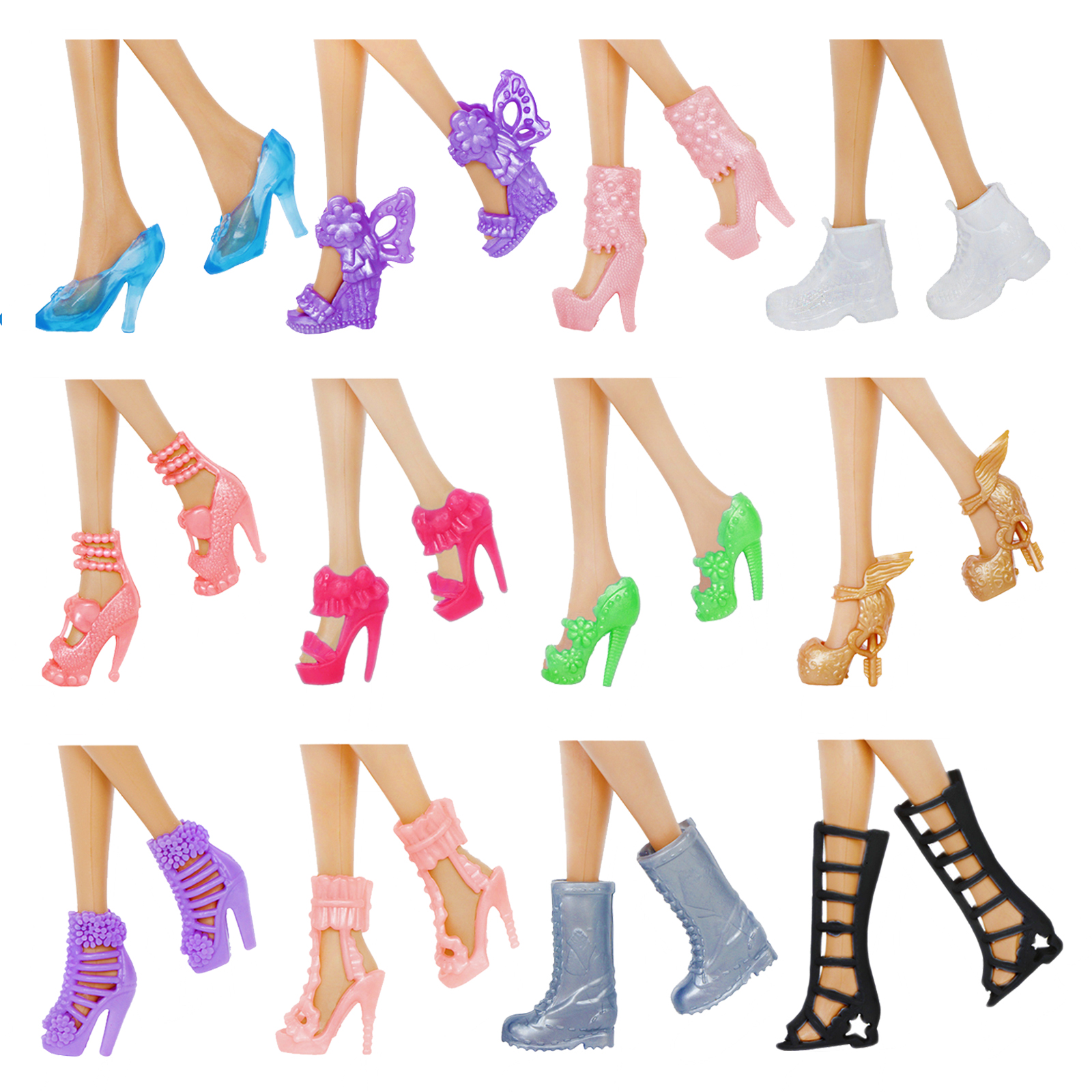 12 Pairs//Set Dolls Fashion Shoes High Heel Shoes Boots for  Doll Gift  BHUS