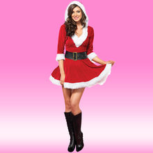 new Women V-neck Fancy Dress Cosplay Outfits Sexy Half Sleeve Lace Red  Christmas Hat Mrs Santa Claus  1101 f172405cf2e0