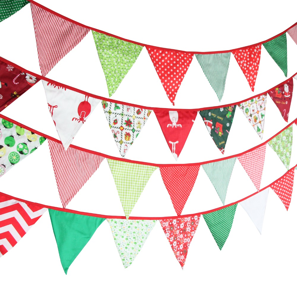 and Schools Party Stores Merry Christmas Banner Christmas Bunting Banner Green and Red Decorations Indoor Outdoor Christmas Party Decor for Homes