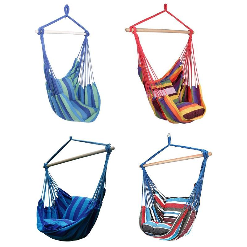 Outdoor Hammock Hanging Rope Chair Swing Chair Seat with 2 Pillows Travel Camping Hammock Swings Bed for Indoor Outdoor Garden