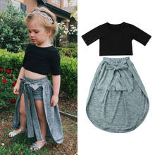 2PCS Fashion Toddler Kids Baby Girl Short Sleeve Exposed Navel Tops Shorts Pants Dress Outfits Clothes Sets(China)