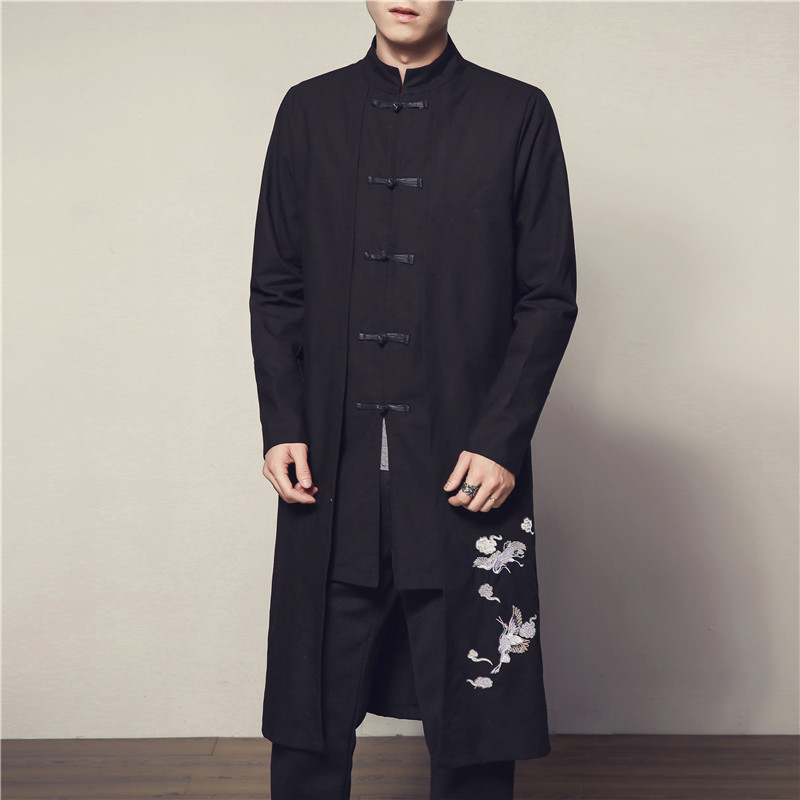 #4014 2019 White Crane Embroidery Cotton Linen Vintage Long Trench Coat Men Chinese Style Clothing Windbreaker Jacket Plus Size