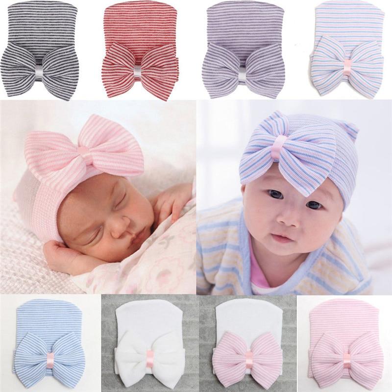 Newborn Baby Kid Girls Boy Stripe Bowknot Toddlers Cotton Sleep Cap Headwear Hat
