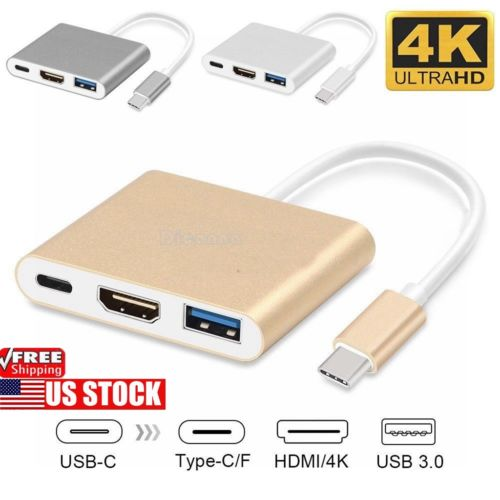 For Apple Macbook 3 in 1 Type C to USB-C 4K HDMI USB 3.0 Hub Adapter Cable