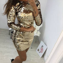 O Neck Autumn Gold Sequined Backless Sexy Dress Women Long Sleeve Mini Dress  Christmas Party Club Strap Dresses Vestidos c0af0ca8f77c