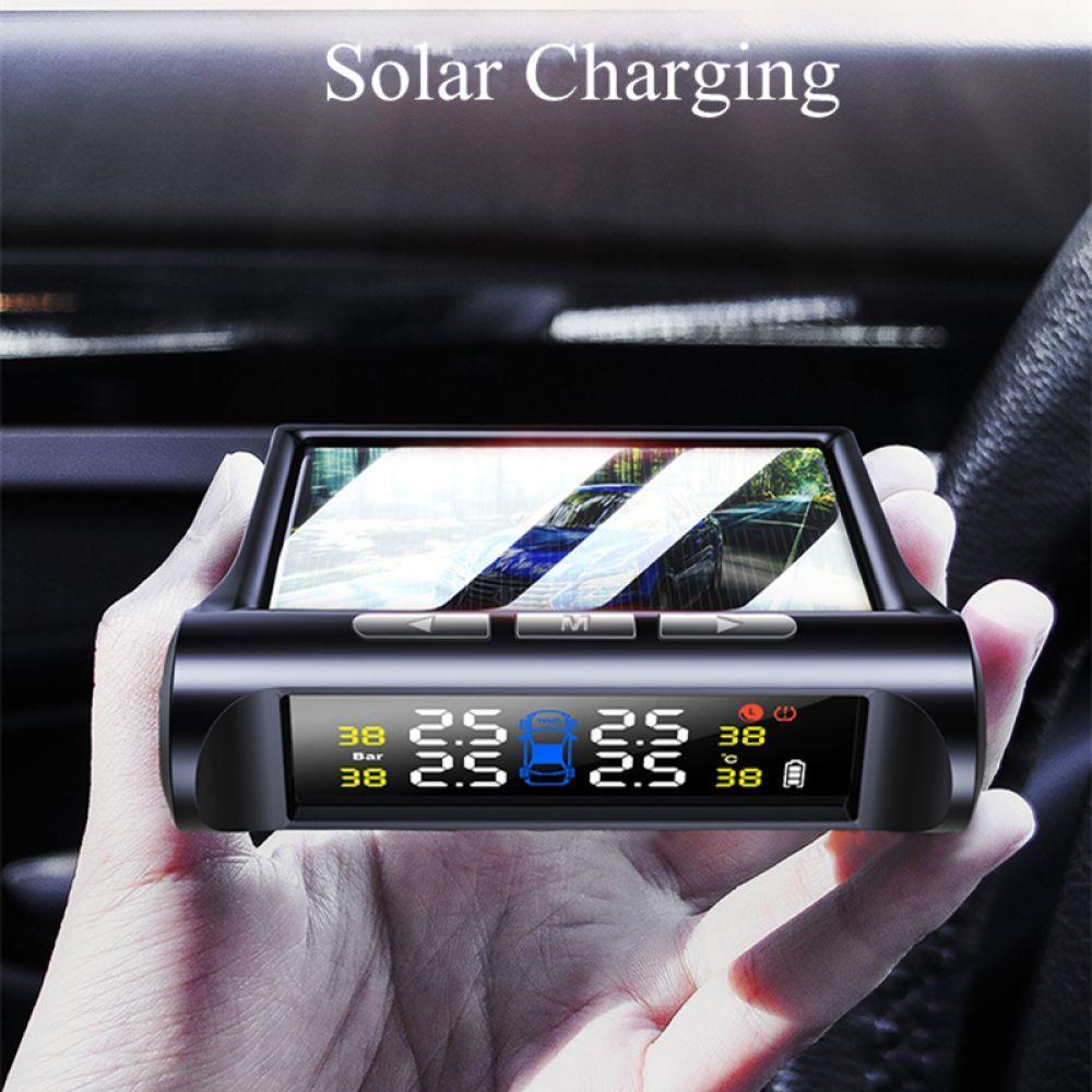 4 Sensor Solar Power Monitor System Auto Car LCD Display TPMS Tire Pressure
