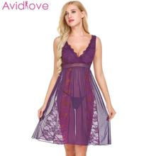 Buy Avidlove Sexy Lingerie Sleepwear Women Sexy Underwear V-Neck Lace Mesh Babydoll Chemise G-String Set Nightwear Erotic Costumes