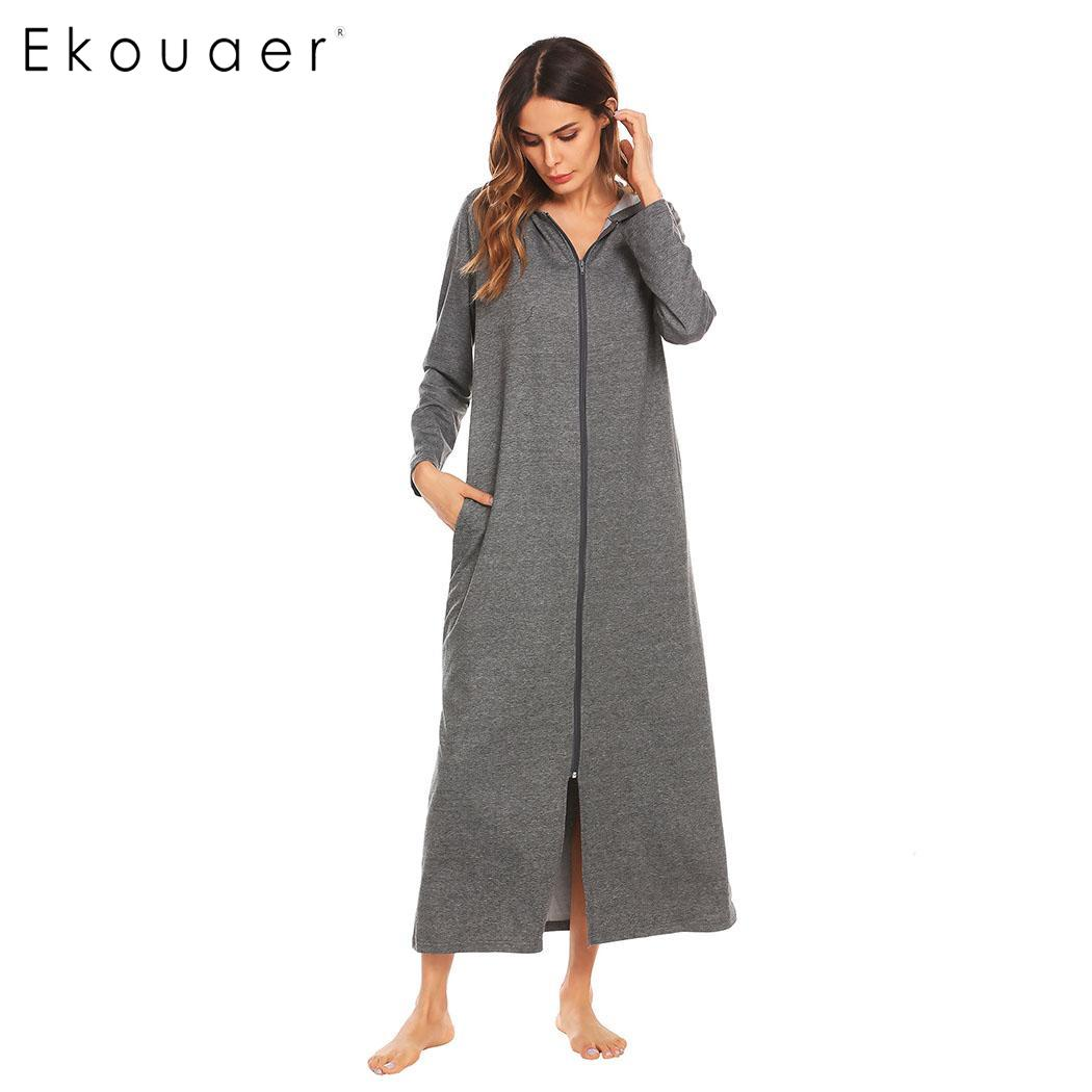 Ekouaer Robes Women Dressing Gown Bathrobes Zip-front Women Long Sleeve Hooded Bathrobe Spa Kimono Robes Nightwear