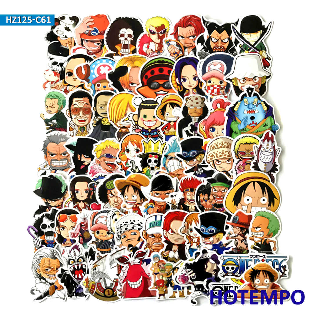 60pcs classics anime one piece stickers for mobile phone laptop luggage guitar case skateboard fixed gear