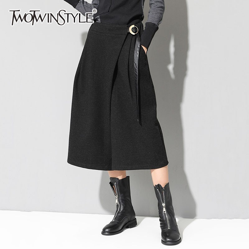 TWOTWINSTYLE Casual Calf Length Pants Female High Waist Lace Up Wide Leg Trousers For Women Plus Thick 2019 Spring Fashion