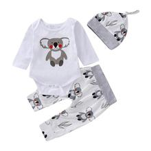 3pcs Kids Baby Spring Clothing Animal Floral Print Long Sleeve Rompers Trousers Pants Hat Set Newborn Casual Clothes Suits Gifts