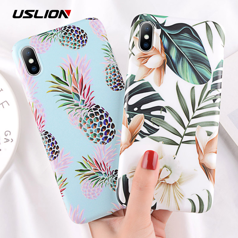 USLION Cartoon Pineapple Case For iPhone XS Max XR X 8 Plus Flower Leaf Pattern Phone Case For iPhone 7 6 6s Plus Soft TPU Cover(China)
