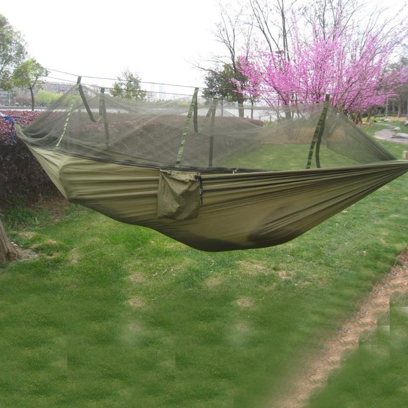 Camping Hammock Mosquito Net Portable Outdoor Garden Travel Swing Canvas Stripe Hang Bed Hammock 260*130cm