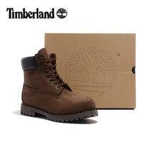 4fa03924ac662 TIMBERLAND clásico de los hombres-pulgadas Premium 10061 marrón oscuro  tobillo botas moto para hombre de cuero genuino de vaca M..