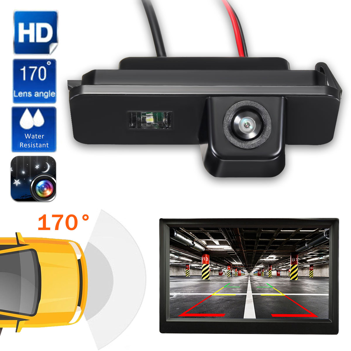 Reverse-Camera Polo Backup Rearview Parking Beetle Bora Universal VW Golf Mk4 Leon Car title=