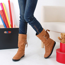 Woman Motorcycle Chelsea Boots Western Mid-calf Slip-on Shoes Women  Elevator Autumn Winter 0cbc4e026516