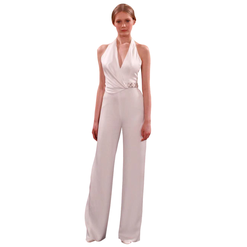 solid color white / black halter v-neck sleeveless ruched beads waistline full length long pants sexy jumpsuit party overalls