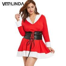 VESTLINDA Big Size Winter Red Dress With Belt Women Long Sleeve Mini Party  Dresses Plus Size Contrast Hooded Christmas Dress 107c702b150e
