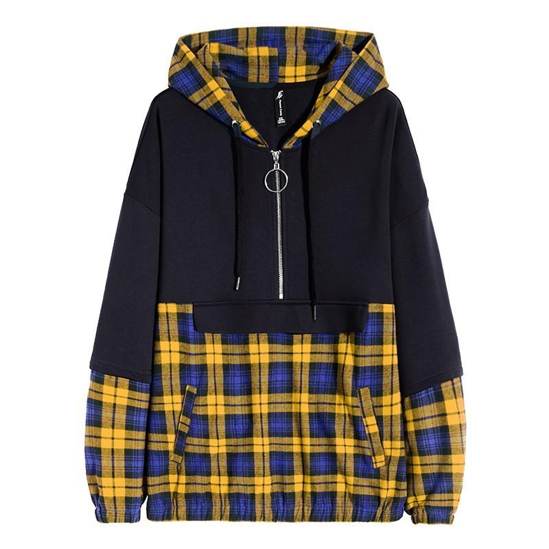 Pioneer Camp Plaid hip hop Hoodies Men brand clothing Zipper Pocket Fashion patchwork