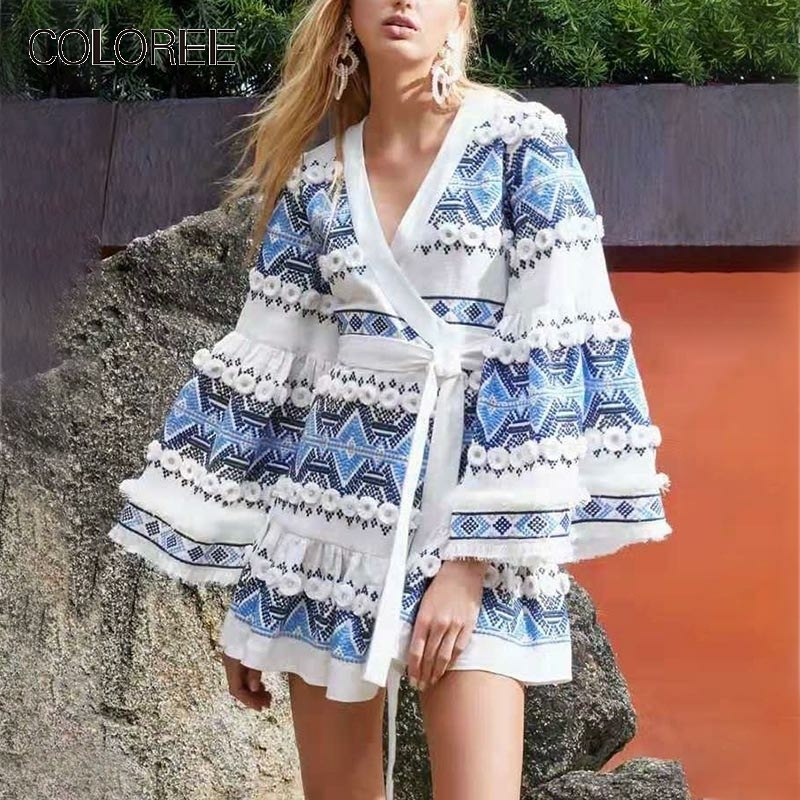 COLOREE High Quality Fashion Women Dress 2019 Summer Print Chic Appliques V-Neck Sashes High Street Flare Sleeve Mini Dress
