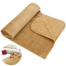 UEETEK Pet Blanket Luxury Wraps Fabric Carpet Warm Bed Cover for Small/Medium/Large Dogs 140CM x 90CM (Khaki)(China)