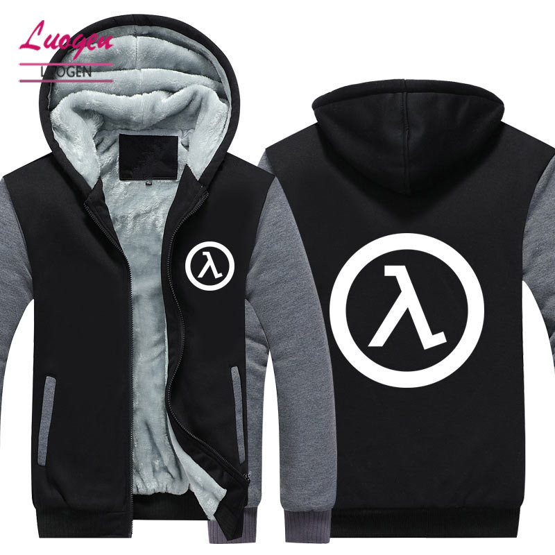 USA SIZE Winter Men's Hoodies Half Life 3 Printed Men's Jackets Thicken Fleece Male Hooded Jackets Zipper Warm Casual Coats