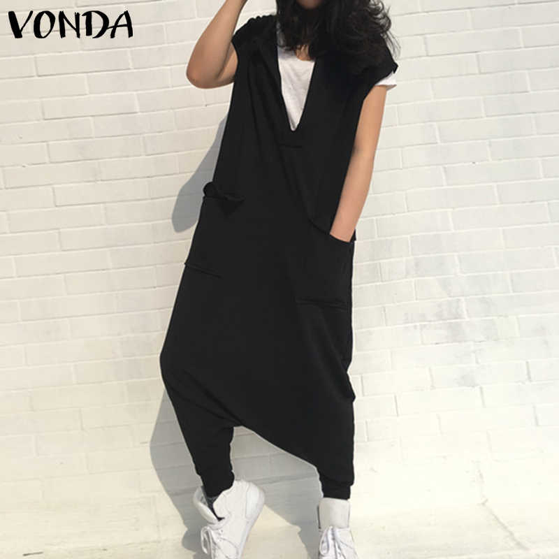 Detalle Comentarios Preguntas sobre 2019 VONDA mujer prendas mono Sexy con  cuello en V de manga corta pantalones Harem sólido suelto Casual Mujer Plus  ... 0d23e44b1b51