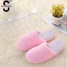 senza fretta Women Shoes Autumn Indoor Soft Cotton Lovers Slippers Bedroom Slippers Couples Wooden Floor Home Slippers Women