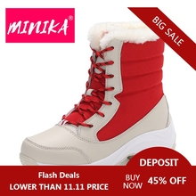 MINIKA Women Ankle Boots Warm Fur Winter Shoes Women 방수 눈 Boots Round Toe 편안한 고무 밑창에 신경 좀 Women Shoes Boots(China)