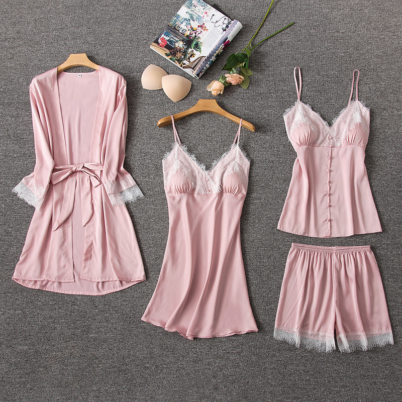 4 Pieces Women Pajamas Sets Satin Sleepwear Silk Nightwear Pyjama Spaghetti Strap V-Neck Sleep Lounge Pijama With Chest Pads