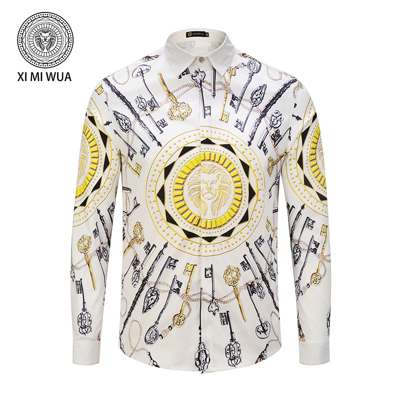 New Arrival Men Shirts 3d Key Print Long Sleeve Hawaiian Shirt Casual Men's Fashion Dress Shirt Large Size Camisa Masculina