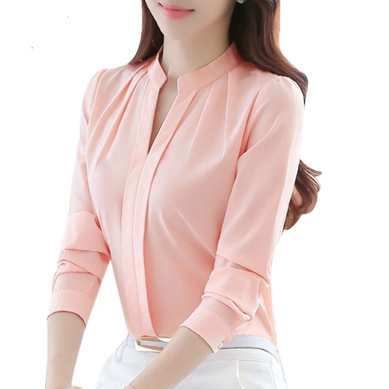 Women Casual Long Sleeved Chiffon Blouse Female Sexy V-neck Shirt Lady Office Slim Tops(China)
