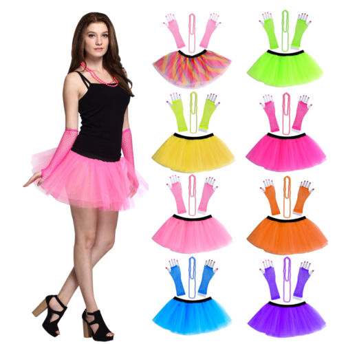 WOMEN/'S LADIES  HEN PARTY 80/'S FANCY DRESS COSTUME NEON TUTU SKIRT SET BANGLE