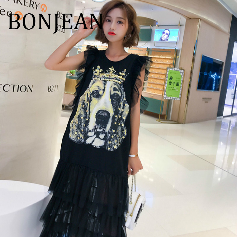 BONJEAN Lace Patchwork Shirt for Women 2019 Black Tops and Tees Dog Pattern Shirt with Sequin Sleeveless Summer Shirt BJ1278