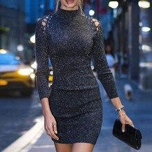 Sexy Woman Party Dress Sequin Glitter Evening Dress Black Bodycon Dress  Spring Turtleneck Long Sleeve Short Mini Vestidos Female e9fa21ad7d16