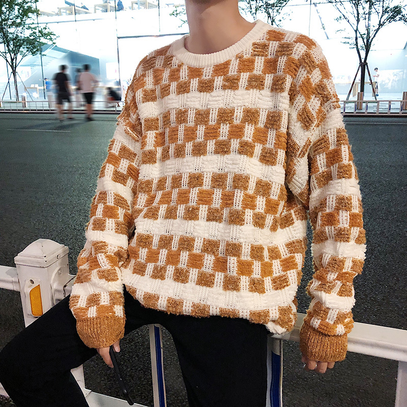 Men's Winter New Fashion Casual Knit Sweater M-2XL Youth Long Sleeve Loose Personality Color Matching Lattice Round Neck Wild