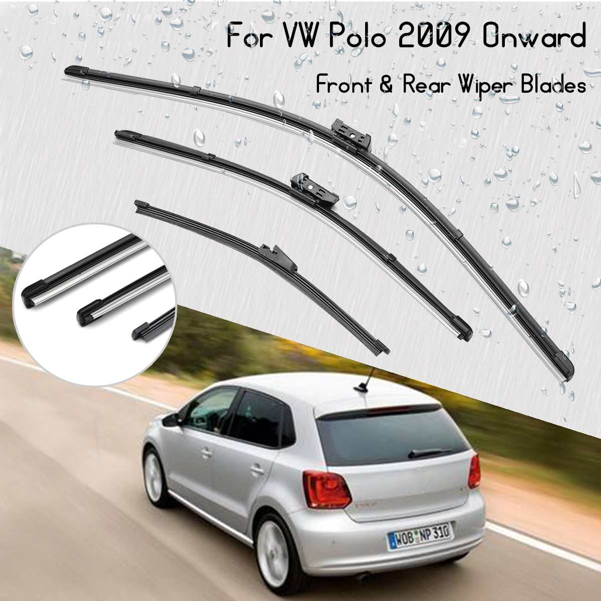 "3Pcs/set 24 ""+ 16"" +11"" Car Front Rear Windscreen Wiper Blades For VW for Polo 2009 Onward Hatchback 3/5 door(China)"
