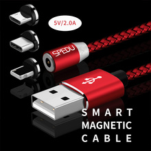 SPEDU Magnetic Cable Braided Mobile LED Type C Micro USB Magnet Charger Cable Apple iPhone X 7 8 6 10 Xs Max XR Samsung