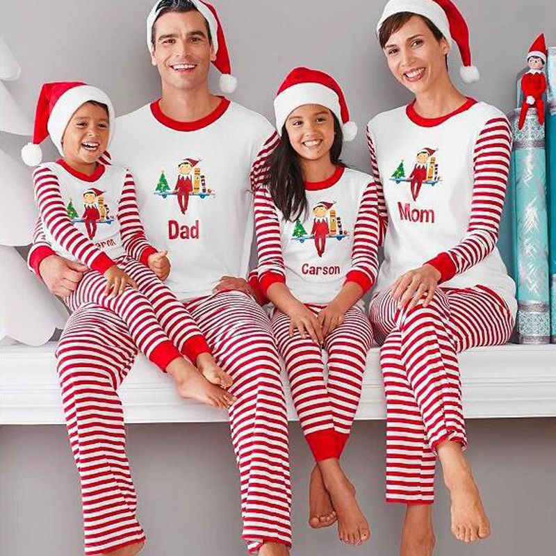 f6bcd6ba21 Family Matching Christmas Winter Warm Pajamas Sets Adult Kids Xmas Cute  Santa Letter Printing Stripe Sleepwear