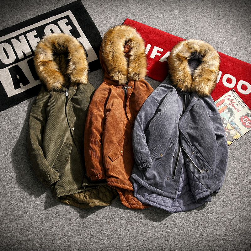 Coat Men Thick Warm Fur Collar Hooded Corduroy Long Section Parka Man Cotton Clothes Retro Fashion New Winter Male Outwear M-5XL