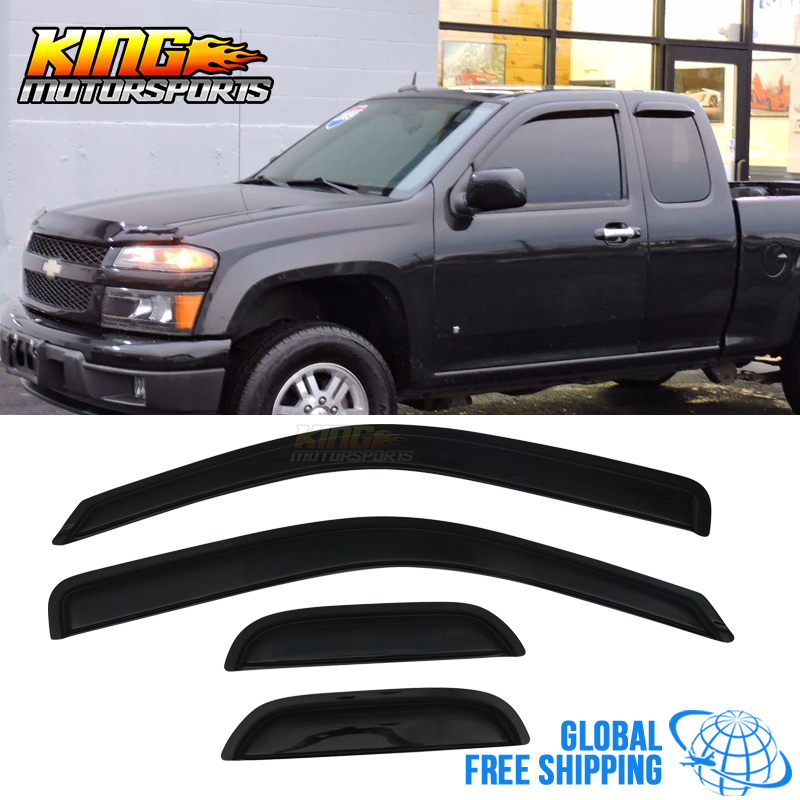 Fits 04-12 Chevy Colorado GMC Canyon Extended Cab Acrylic Window Visors 4Pc Set