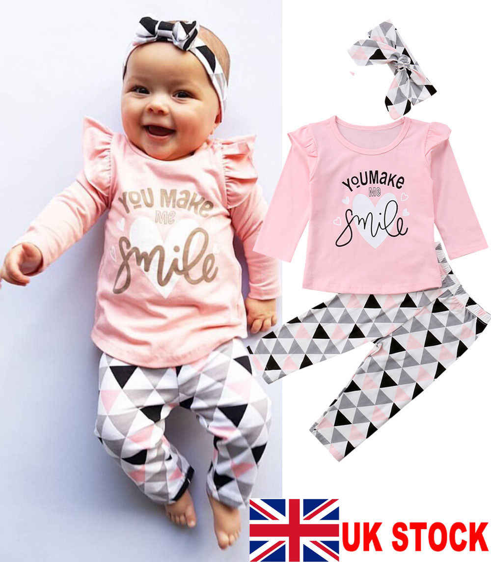 UK Newborn Baby Girl Clothes Lace Ruffle Top T-Shirt Pants Leggings 3Pcs Outfit