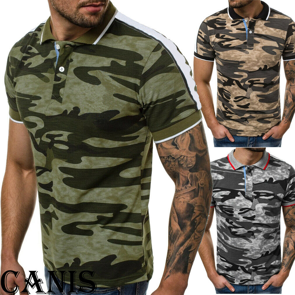Mens Military Camouflage Camo T Shirt Army Combat Tee Summer Short Sleeve Tops
