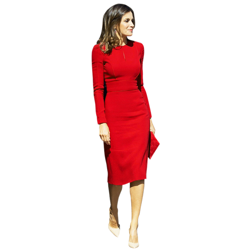solid color red / black pencil dresses princess women office business dress o-neck long sleeve knee length bodycon tight dress
