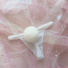 Buy 2018 Women's Underwear Removable Rabbit Hair Ball Panties G String Cute Girl's Cosplay Thong Lolita Bikini Underpants